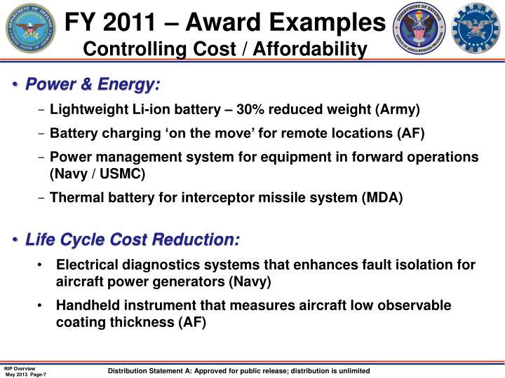 FY 2011 – Award Examples
