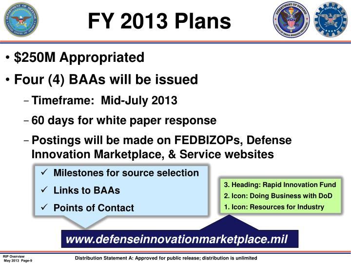 FY 2013 Plans