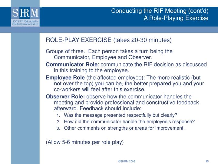 Conducting the RIF Meeting (cont'd)