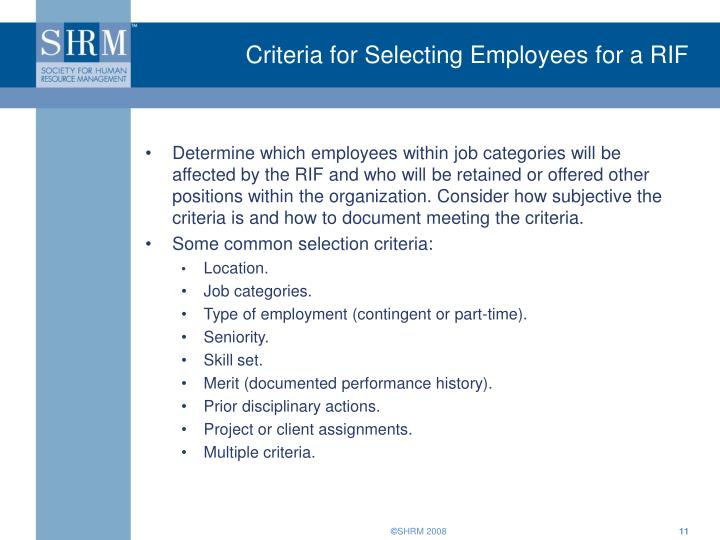Criteria for Selecting Employees for a RIF