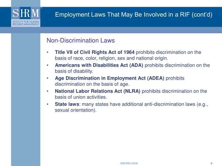 Employment Laws That May Be Involved in a RIF (cont'd)