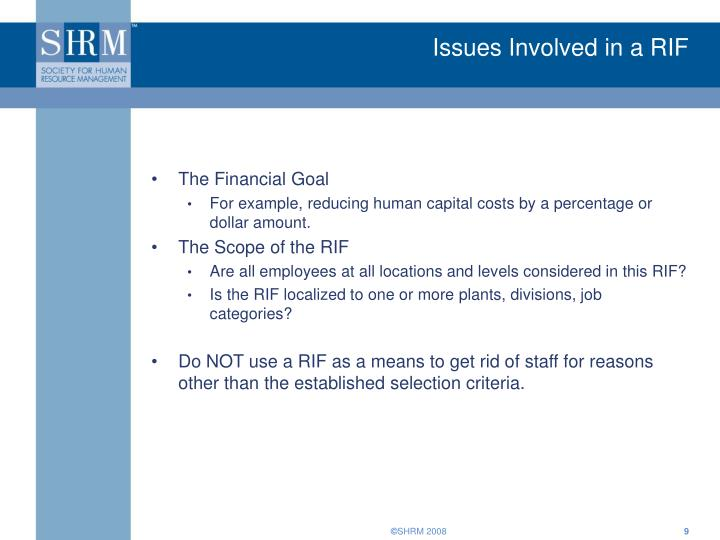 Issues Involved in a RIF