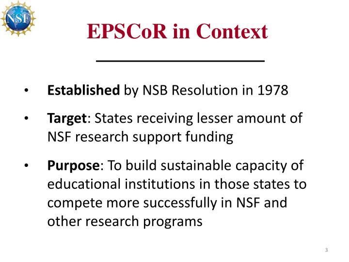 EPSCoR in Context