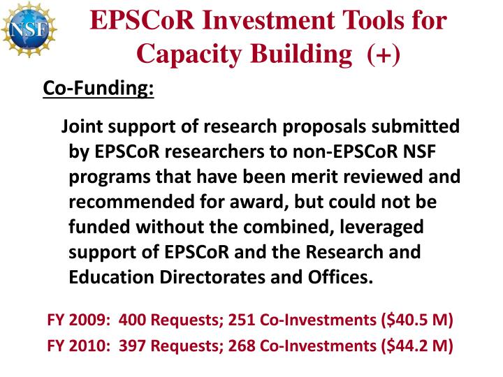 EPSCoR Investment Tools for Capacity Building  (+)