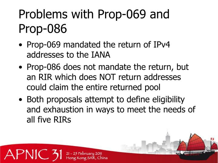 Problems with Prop-069 and Prop-086