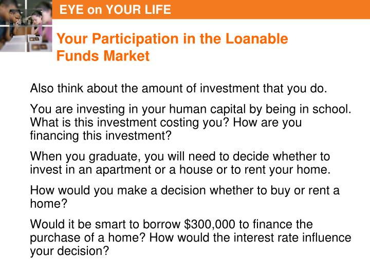 Your Participation in the Loanable Funds Market