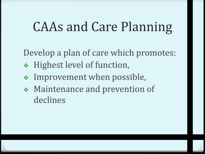 CAAs and Care Planning