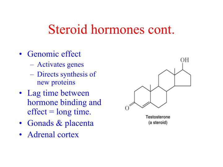 Steroid hormones cont.