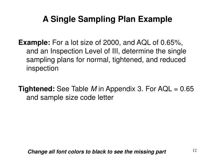 A Single Sampling Plan Example