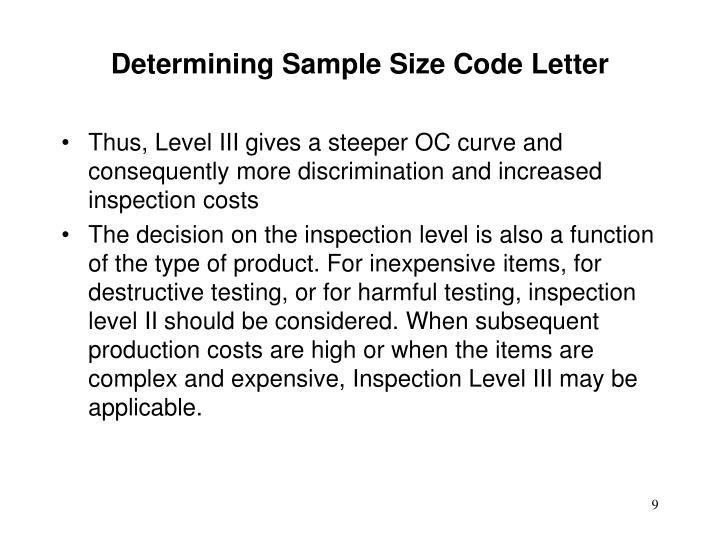 Determining Sample Size Code Letter