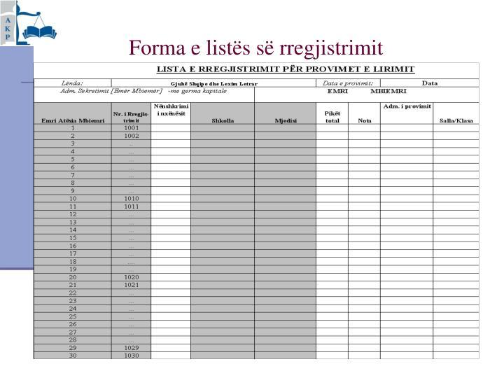 Forma e listës së rregjistrimit