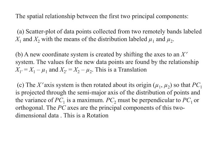 The spatial relationship between the first two principal components: