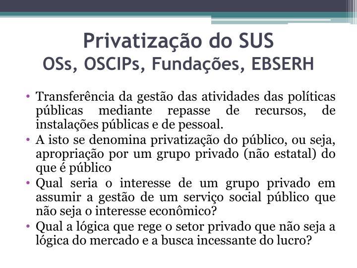 Privatização do SUS