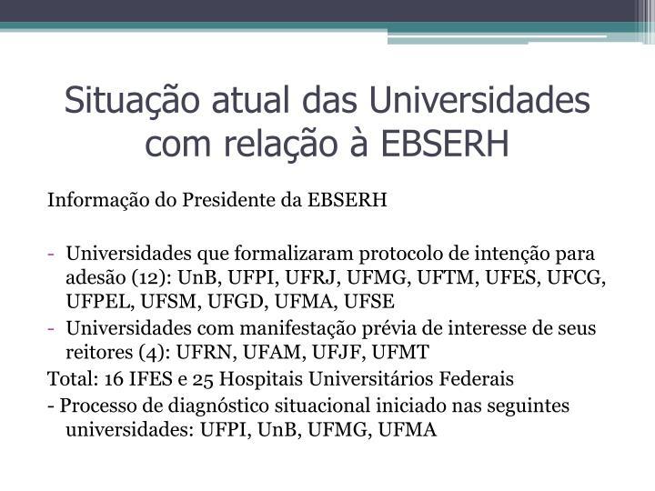 Situação atual das Universidades com relação à EBSERH