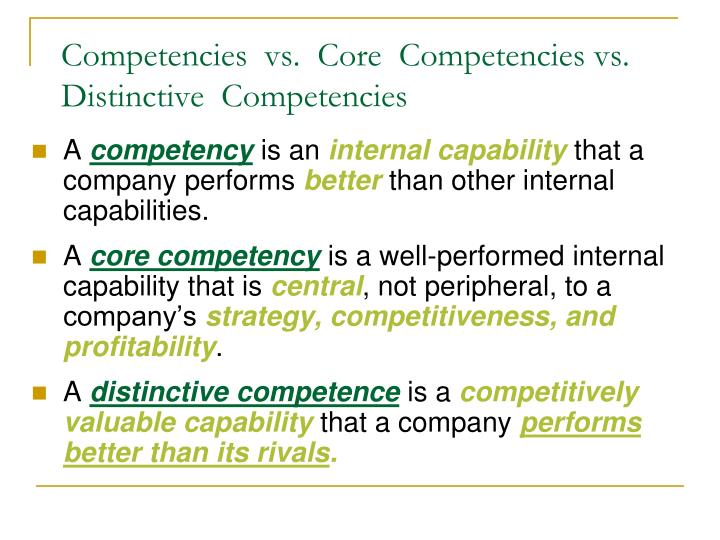 Competencies  vs.  Core  Competencies vs.  Distinctive  Competencies