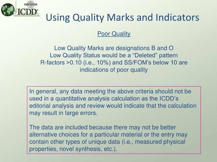 Using Quality Marks and Indicators