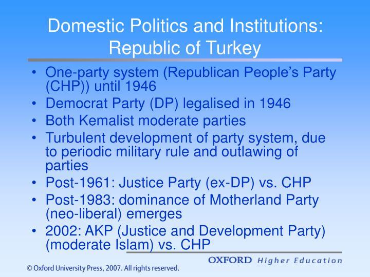 Domestic Politics and Institutions: Republic of Turkey