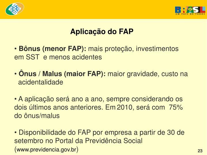 Aplicação do FAP