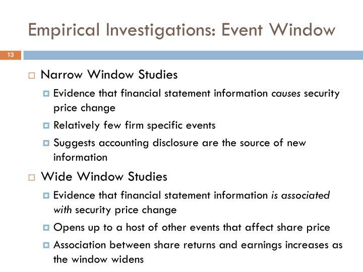 Empirical Investigations: