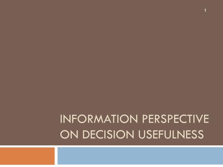 Information Perspective on Decision Usefulness