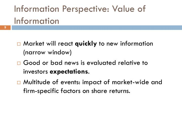 Information Perspective: Value of Information