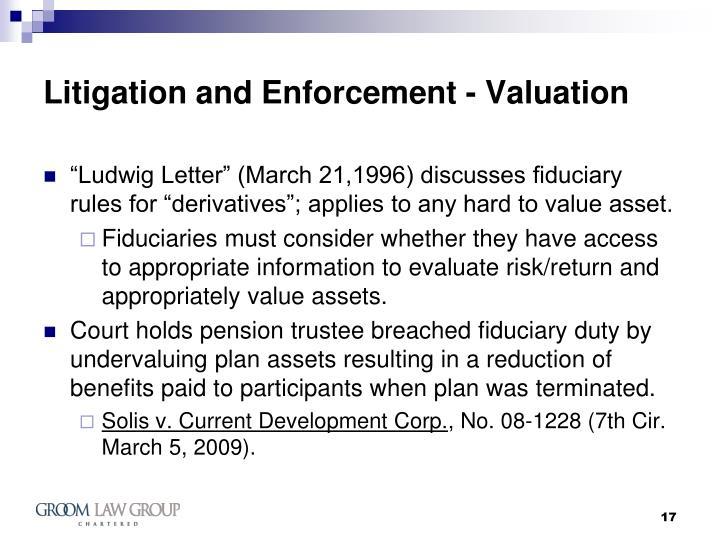 Litigation and Enforcement - Valuation