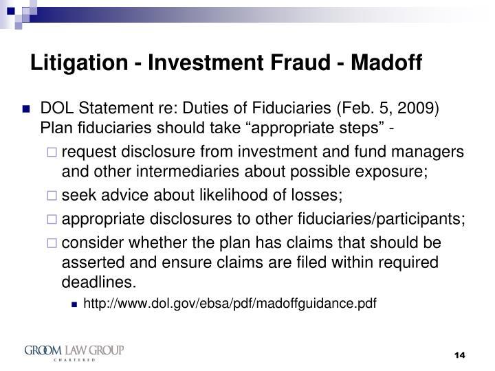Litigation - Investment Fraud - Madoff