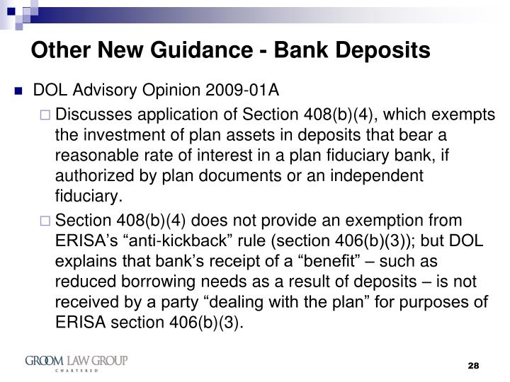 Other New Guidance - Bank Deposits