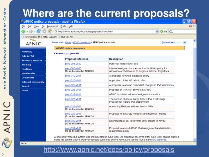 Where are the current proposals?