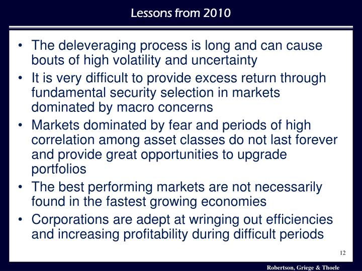 The deleveraging process is long and can cause bouts of high volatility and uncertainty