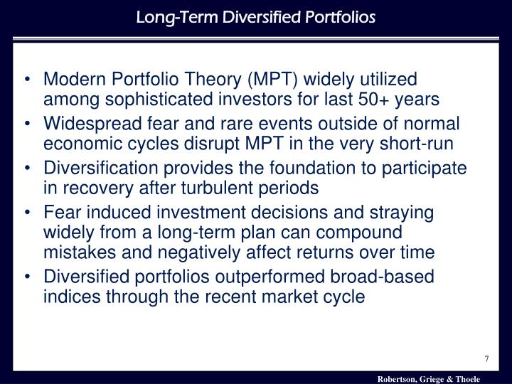 Modern Portfolio Theory (MPT) widely utilized among sophisticated investors for last 50+ years