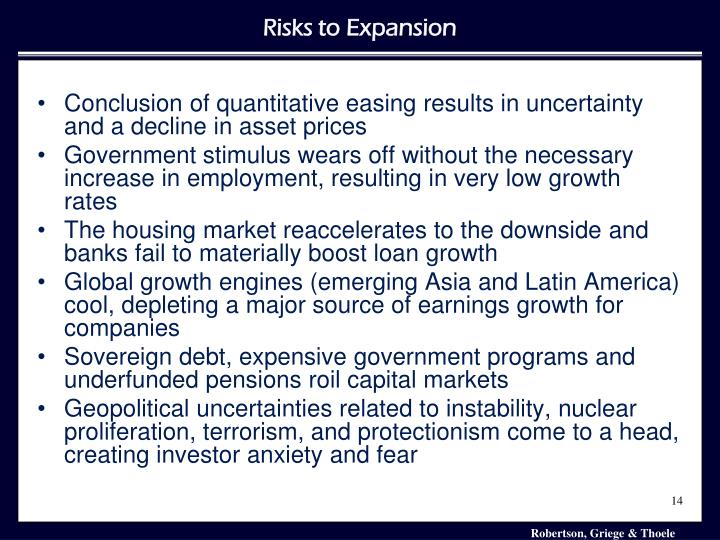 Conclusion of quantitative easing results in uncertainty and a decline in asset prices