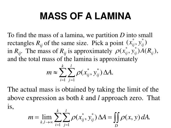 MASS OF A LAMINA