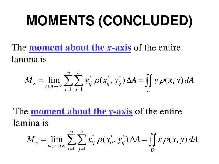 MOMENTS (CONCLUDED)