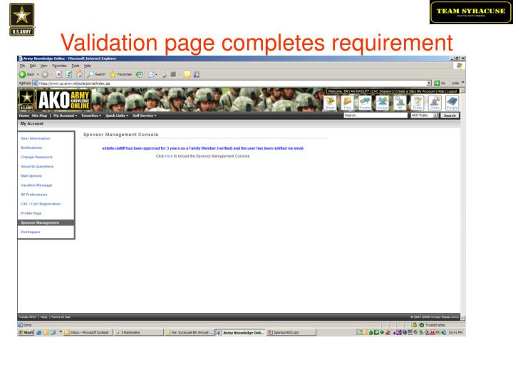 Validation page completes requirement