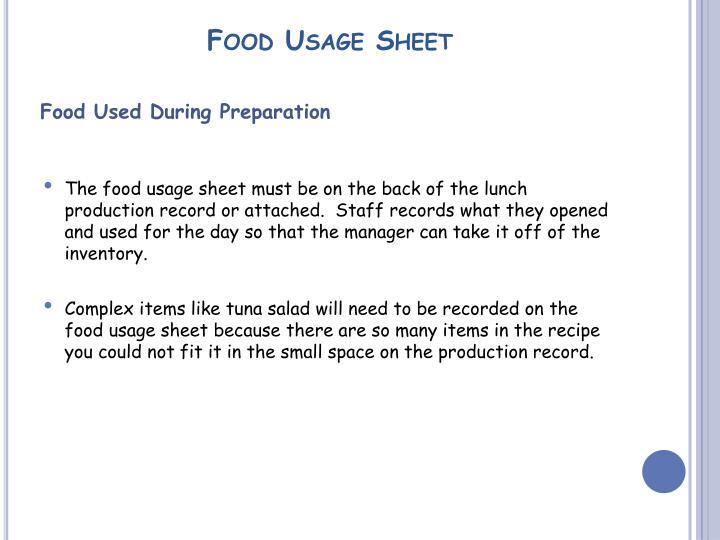 Food Usage Sheet