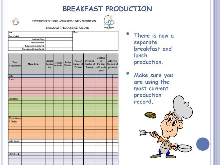 BREAKFAST PRODUCTION