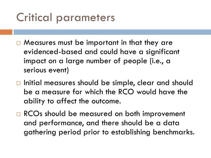 Critical parameters