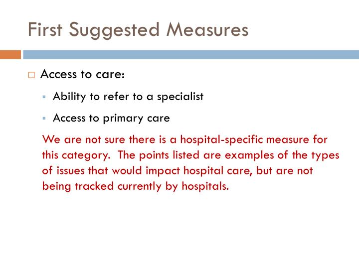 First Suggested Measures