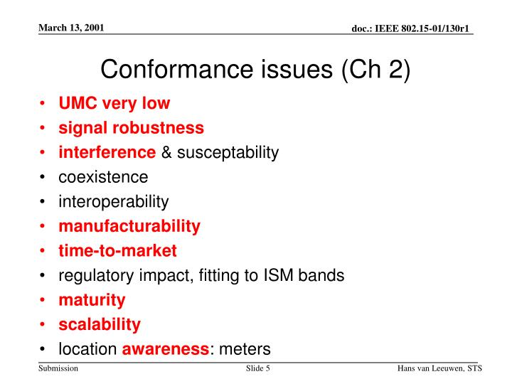 Conformance issues (Ch 2)
