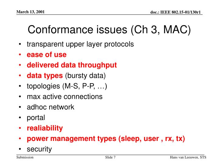 Conformance issues (Ch 3, MAC)