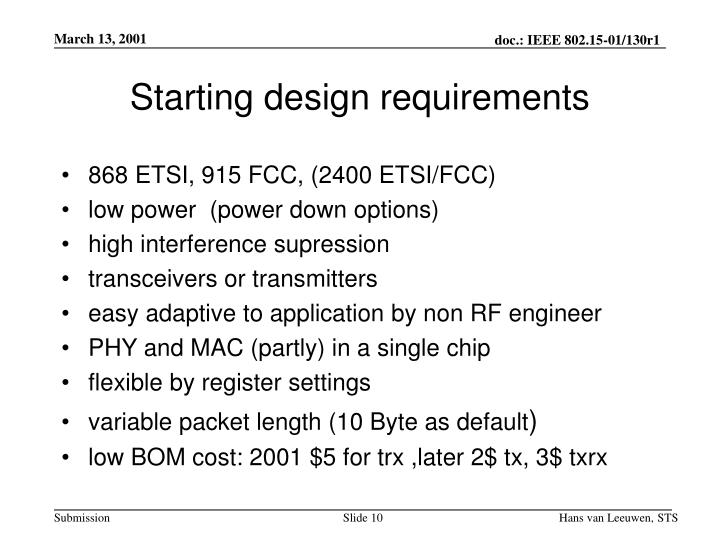 Starting design requirements