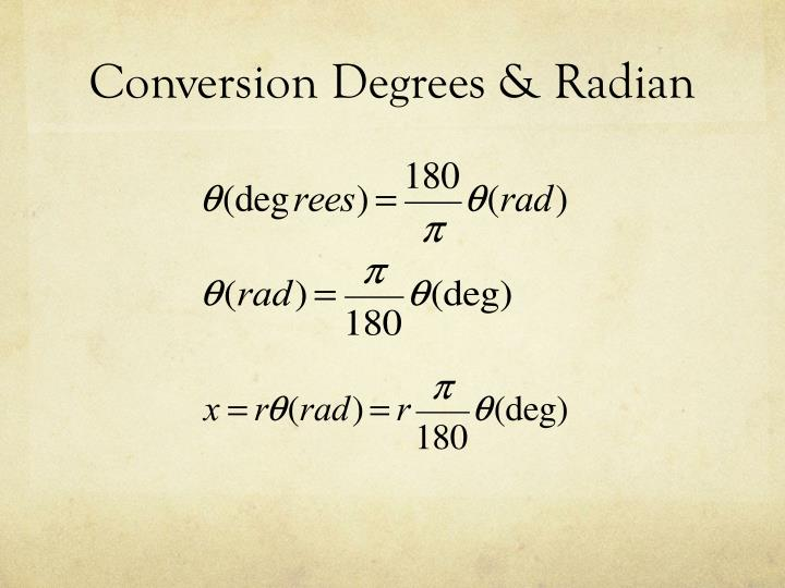 Conversion Degrees & Radian