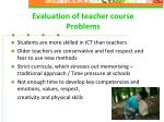 evaluation of teacher course problems