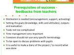 prerequisites of success feedbacks from teachers