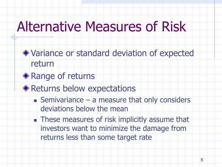 Alternative Measures of Risk