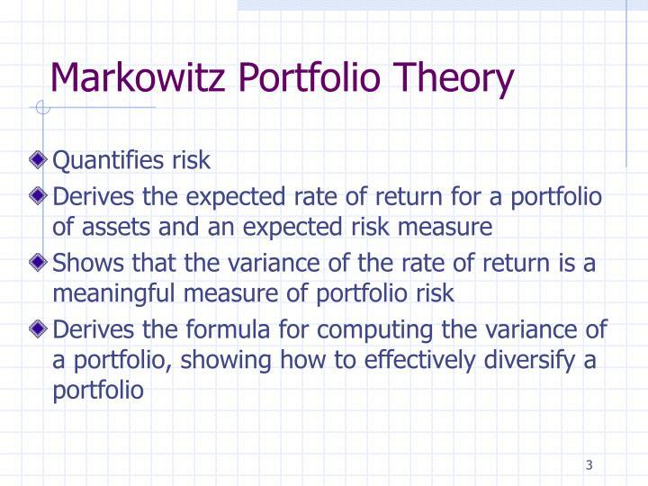 Markowitz Portfolio Theory