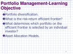 portfolio management learning objective1