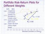 portfolio risk return plots for different weights1