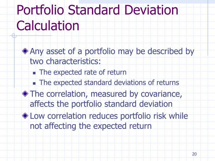 Portfolio Standard Deviation Calculation